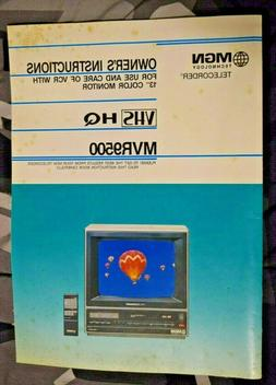 Owner Manual, MVR9500, VHS, MGN, Telecorder, Color, Monitor,