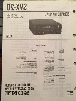 Sony SVX-20 VHS MOBILE HI FI STEREO 12V PLAYER   Original Fa